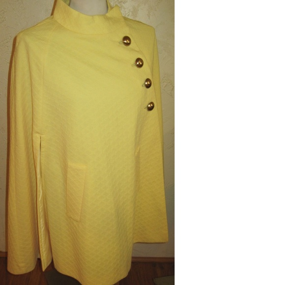 Btight Yellow Waffle Fabric Vintage Cape Jackets & Blazers - Bright Yellow Waffle Fabric Vintage Cape One Size
